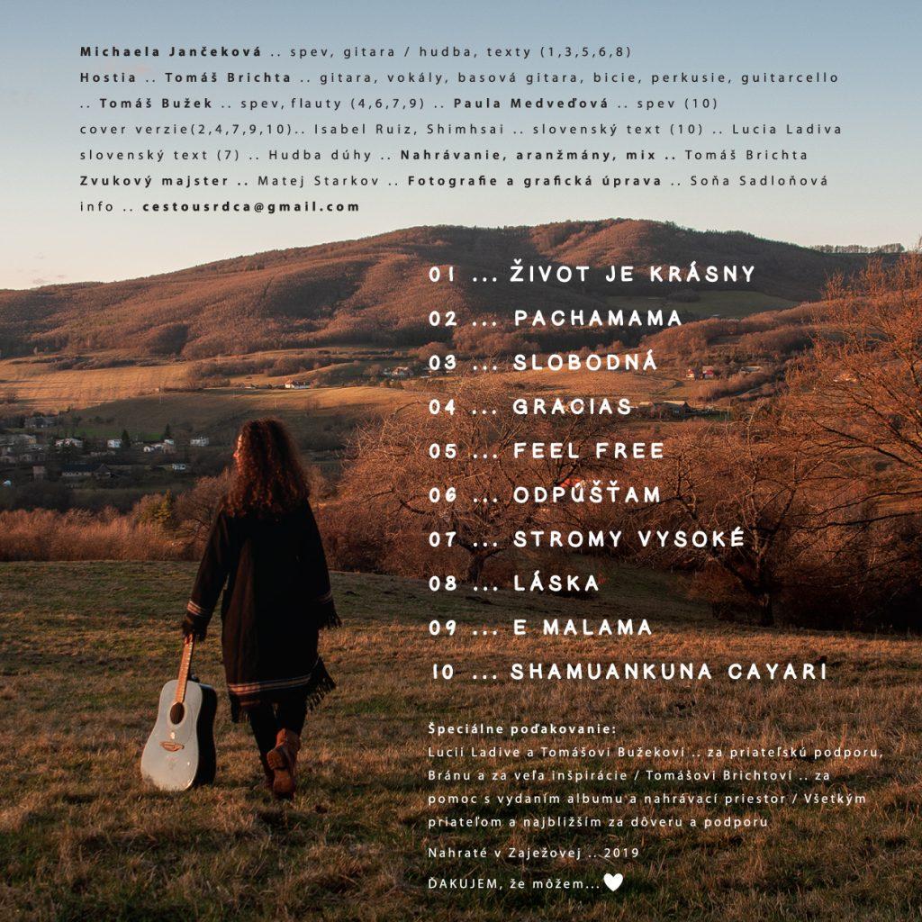 Michaela Jančeková - Ďakujem, že môžem - zadna strana CD